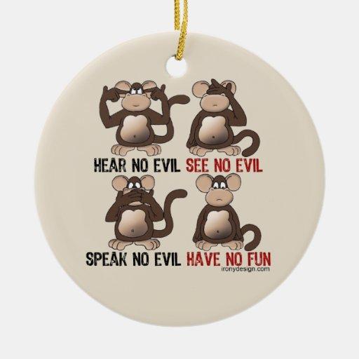 Humor sabio de los monos adorno navideño redondo de cerámica