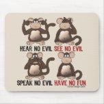 Humor sabio de los monos alfombrilla de ratón
