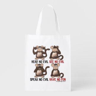 Humor sabio de los monos bolsa para la compra