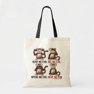 Humor sabio de los monos bolsa lienzo