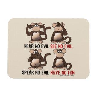 Humor sabio de los monos imán rectangular