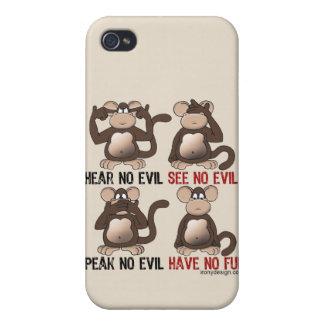 Humor sabio de los monos iPhone 4/4S funda