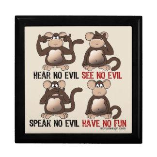 Humor sabio de los monos joyero cuadrado grande