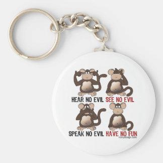 Humor sabio de los monos llavero redondo tipo pin