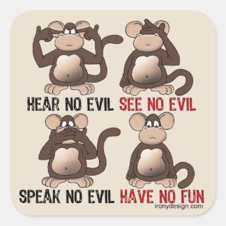 Humor sabio de los monos calcomania cuadrada personalizada