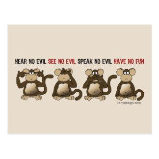Humor sabio de los monos postal