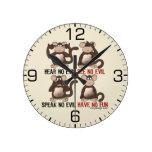 Humor sabio de los monos reloj de pared