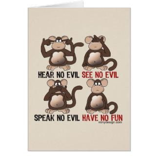 Humor sabio de los monos tarjeta de felicitación