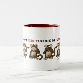 Humor sabio de los monos tazas de café