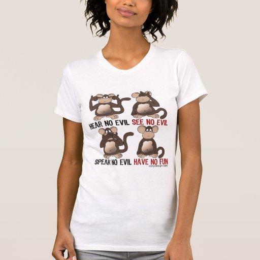 Humor sabio de los monos tee shirts