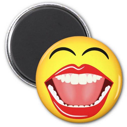 Humor sonriente de la cara LOL que ríe los imanes  Imanes De Nevera