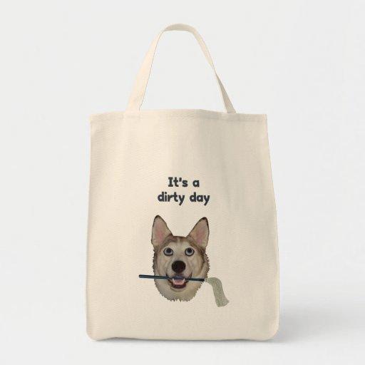 Humor sucio del pis del perro del día bolsa de mano
