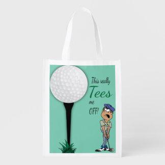 Humor Tees Me Off Golfer Grocery Bag