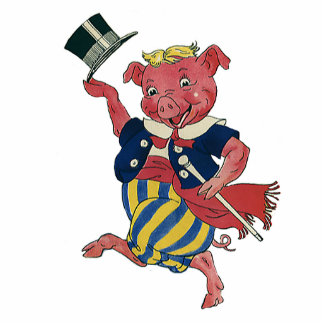 Humor tonto divertido del vintage, cerdo del baile escultura fotografica