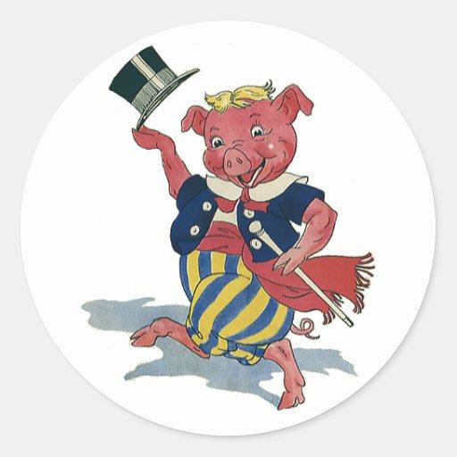 Humor tonto divertido del vintage, cerdo del baile etiquetas redondas