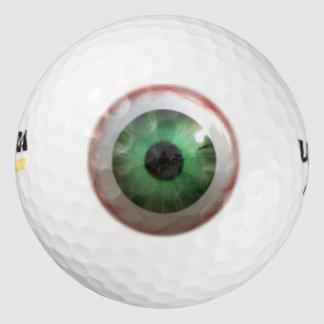 Humor verde espeluznante del globo del ojo de la pack de pelotas de golf