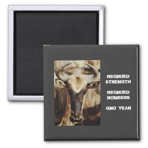 Humoros divertidos azules del Wildebeest/del Gnu a Iman Para Frigorífico