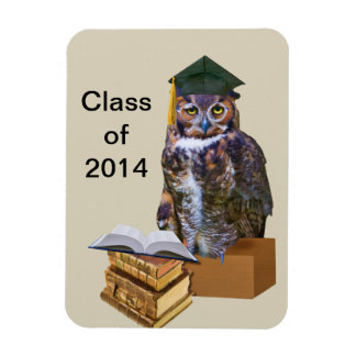 Humorous 2014 Graduation Owl Customizable Magnet