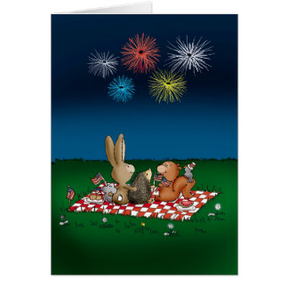 Humorous 4th of July Card with Fireworks - Friends