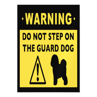 Humorous Bichon Frise Guard Dog Warning Magnetic Invitations