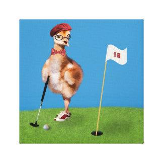 Humorous Bird Playing Golf Canvas Print
