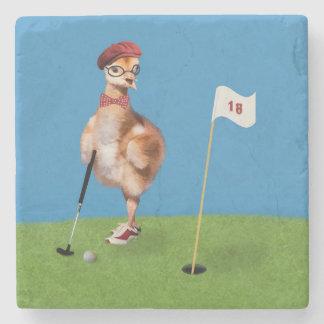 Humorous Bird Playing Golf Customizable Stone Beverage Coaster