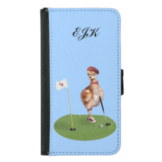 Humorous Bird Playing Golf, Customizable Monogram Samsung Galaxy S5 Wallet Case