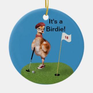 Humorous Bird Playing Golf, Customizable Text Ceramic Ornament