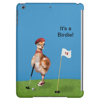 Humorous Bird Playing Golf, Customizable Text Cover For iPad Air