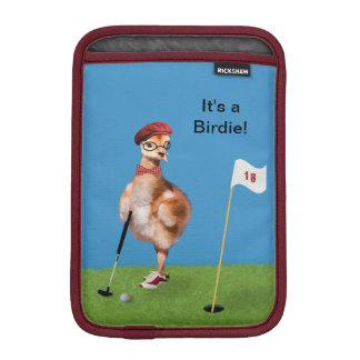 Humorous Bird Playing Golf, Customizable Text iPad Mini Sleeve