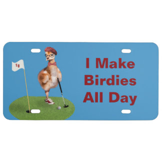 Humorous Bird Playing Golf, Customizable Text License Plate