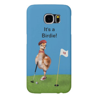 Humorous Bird Playing Golf, Customizable Text Samsung Galaxy S6 Case