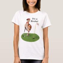 Humorous Bird Playing Golf, Customizable Text T-Shirt