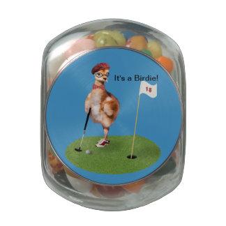 Humorous Bird Playing Golf Glass Candy Jar