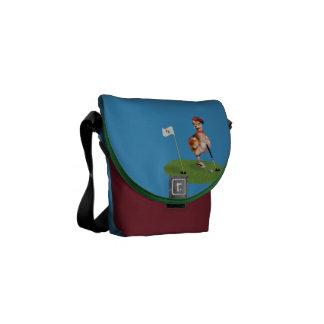 Humorous Bird Playing Golf Messenger Bags