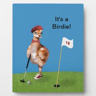 Humorous Bird Playing Golf Plaque