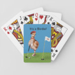 """Humorous Bird Playing Golf Playing Cards<br><div class=""""desc"""">Everyone enjoys a day of golf and this little bird, a baby Sandhill Crane, is all decked out in the appropriate golf gear and is ready to play. He sports a fancy red golf cap, a red bow tie, and red and white golf shoes. His putter is in his hand...</div>"""