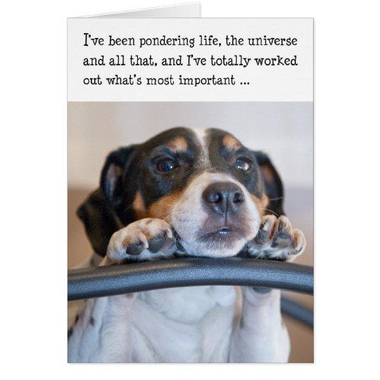 Humorous Birthday Card Dog Pondering Life – Humerous Birthday Cards