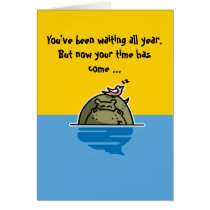 Humorous birthday card featuring a hippo