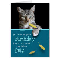 Humorous Birthday Card from the Naughty Cat