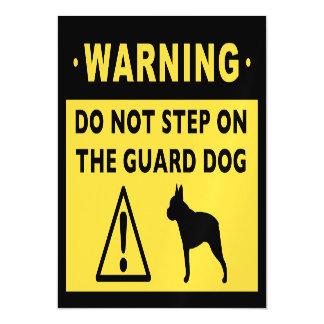 Humorous Boston Terrier Guard Dog Warning Magnetic Card