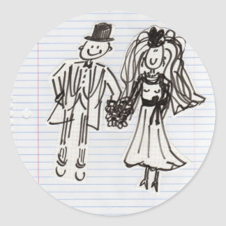 Humorous Bride and Groom Classic Round Sticker