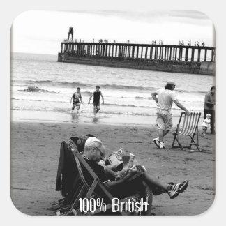 Humorous British at the Seaside in Monochrome Square Sticker