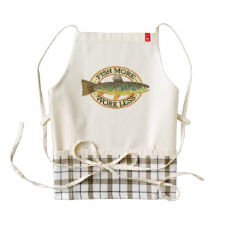 Humorous Brown Trout Fly Fishing Zazzle HEART Apron