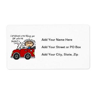 Humorous Car Sickness Label