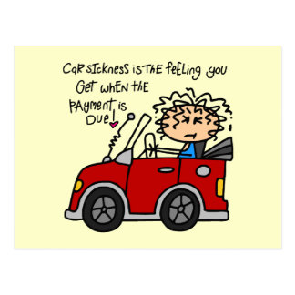 Humorous Car Sickness Post Card
