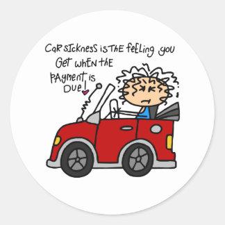 Humorous Car Sickness Classic Round Sticker