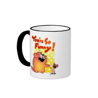 Humorous Cartoon Cat + Mouse / Humorous Cat Ringer Coffee Mug