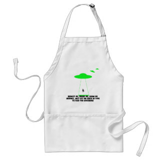 Humorous chicken abduction apron