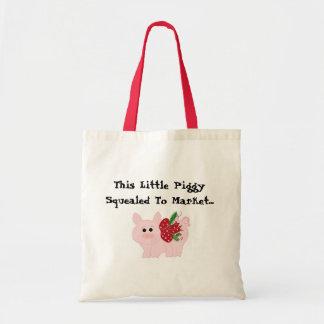 Humorous Christmas Pig Budget Tote Bag
